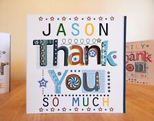 Man Thank you card. Special Male personalised Thank You cardThank for boy man