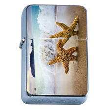 Windproof Refillable Flip Top Oil Lighter Starfish D2 Sea Star Ocean Fish