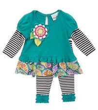 Girls size 2T Rare Editions Teal Flower Top and Striped Leggings NWT