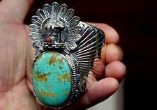 Giant Navajo Sterling Silver & Royston Turquoise Stone & Coral KACHINA Bracelet