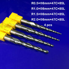 6pc R0.25-R2.0 HRC55 2F Tapered Ball Nose Endmill CNC Router Bit Milling Cutter