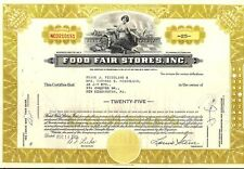 Stock certificate Food Fair Stores, Inc. 1961 25 shares