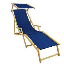 Transat pour Jardin Bleu Fauteuil de Plage Relaxliege Toit Ouvrant Hêtre