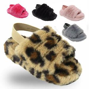 Girls Furry Slippers Kids Sliders Fluffy Fur Mule Flip Flop Children Shoes Size