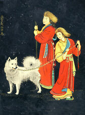 SAMOYED LADY AND MAN IN NATIONAL COSTUME LOVELY DOG GREETINGS NOTE CARD