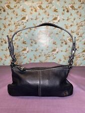 The Sak Small Handbag Black Pebbled Leather Hobo Bag Zip Close with Logo