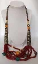 Turquoise Bone Metalwork Necklace 197g Vintage Moroccan Berber Tribal Coral