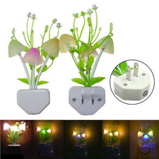 Romantic Colorful Sensor LED Mushroom Night Light Wall Lamp Home Decor US Plug