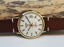 USED VINTAGE LONGINES CONQUEST SILVER DIAL GOLD CAP DATE AUTOMATIC MAN'S WATCH