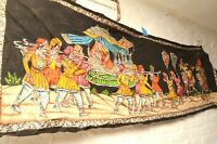 LARGE Antique painted linen cloth painted VTG India art tapestry textile hanging