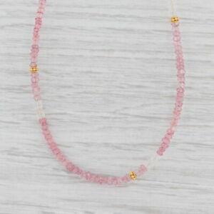 New Nina Nguyen Pink Topaz Bead Necklace Sterling Gold Vermeil Long Adjustable