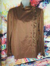 Ted Lapidus Paris Vintage Silk Button side blouse ruffled size 42