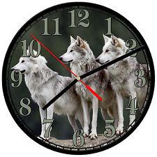 "8"" WALL CLOCK - Wolf 13 Wolves Spiritual - Kitchen Office Bathroom Bar Bedroom"