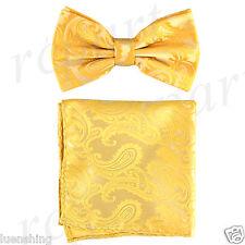 New formal Men's micro fiber Pre-tied Bow Tie & Hankie sunflower yellow paisley