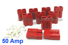 10 Battery Charger Plugs w/Contacts #8Awg,Small Red, Anderson, Golf Carts