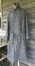 Vtg Mens dress coat long houndstooth belt USA ex large winter wool? black white
