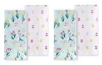 Celebrate Easter Together Kitchen Dish Towels BUNNY TOSS ON BLUE 4-Piece Set NEW