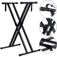 Adjustable Metal Music Keyboard Electronic Piano Dual Tube X Stand Standard Rack