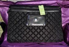 Knomo of London Large Black Quilted Leather Slim Sleeve Laptop Bag