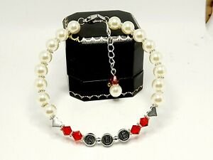 Luxury Personalised Pearl Bracelet Made with Swarovski Gift Boxed
