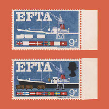 Great Britain 1967 (Error) 9d EFTA missing black, brown, new blue and yellow