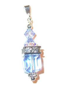LIGHT SAPPHIRE BLUE 8mm Cube Crystal Pendant Sterling Silver Swarovski Elements