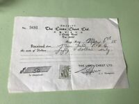 The Linen Chest Ltd 1955 Hong Kong Stamp Duty Receipt Ref R32318