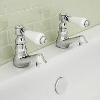 ENKI Vintage Twin Bath Taps Traditional Chrome Ceramic Lever New KENSINGTON