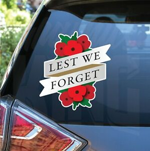 2 x Lest We Forget Help 4 Heroes Charity Printed  Bumper Car Stickers UK