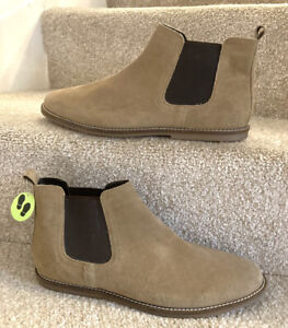 Red Herring Men's New Chelsea Boots Uk11 Eu45 Taupe Leather Smart Casual Shoes
