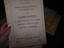 MASSEY HARRIS 6 & 7 FOOT CLIPPER COMBINE INSTRUCTIONS FOR INSTALLING REEL