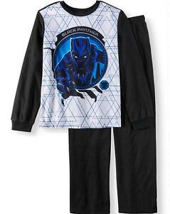 Disney Black Panther Pajamas 4 5 6 7 8 10 12 Boys 2Pic Flannel Set New Sleepwear