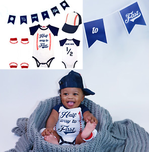 Half Birthday 6 Months Personalized Baseball Outfit Half 1/2 Way To First®