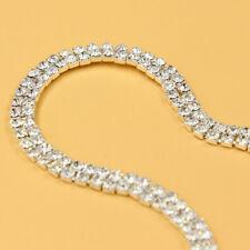 1 Yard Silver Crystal Rhinestone 2 Rows Band Chain Sewing Wedding Dress Trims