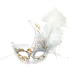 "Women's Deluxe Masquerade Glitter, Feather, Flower Lace Mask: ""Alessia"" - White"