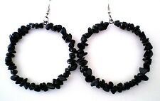 Earrings Hoop Obsidian Black 3.25 inches Silver Plated Handmade GB USA New