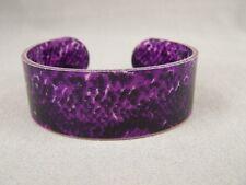 Purple Black cuff bracelet snake lizard skin print plastic bangle cuff bracelet