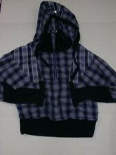 Lululemon Run Reflection Pullover Jacket SZ 10 Purple Black Plaid Hood Half Zip