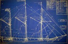 "Ships Plan Great Lakes Schooner 3 Masted Blueprint Drawing 19""x 29"" (057)"