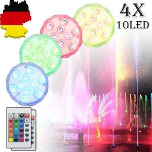 4x RGB LED Unterwasser-Licht Deko-Beleuchtung Lampe Aquarium Teich Pool IP68 SET