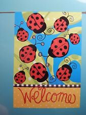 Bnwt ~ Rain or Shine ~ 28 x 40 House Flag ~ Welcome Ladybugs ~ Art Flag