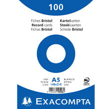 [Ref:10508E] EXACOMPTA Paquet de 100 Fiches BRISTOL BLANC 148/210 S/FILM