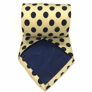 Turnbull & Asser Tie Light Yellow Blue Polka Dots Silk Necktie Handmade England