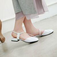 Women's Solid Patent Leather Thick Ankle Strap Heel Square Toe Slingback Sandals