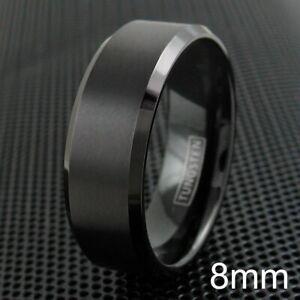 6/8mm Black Tungsten Carbide Brushed Comfort Fit Wedding Band Ring Men's-Women's