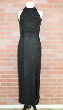 Adrianna Papell Evening Womens Sz 4 Black Beaded Sleeveless High Neck Gown