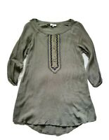 Umgee Womens Small Green Embroidered Pride In Culture Henley Tunic