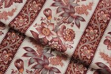 Antique fabric French madder brown printed cotton floral & stripe picotage 1870