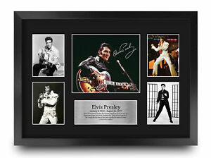 Elvis Presley A3 Framed Musician The King Gifts Signed Photo Print Music Fan