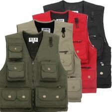 Mens Multi Pocket Waistcoat Camera Outdoor Vest Tops Traveler Cargo Vest jacket
